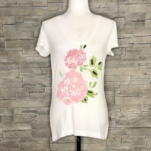 Tommy Hilfiger white t-shirt with floral appliqué